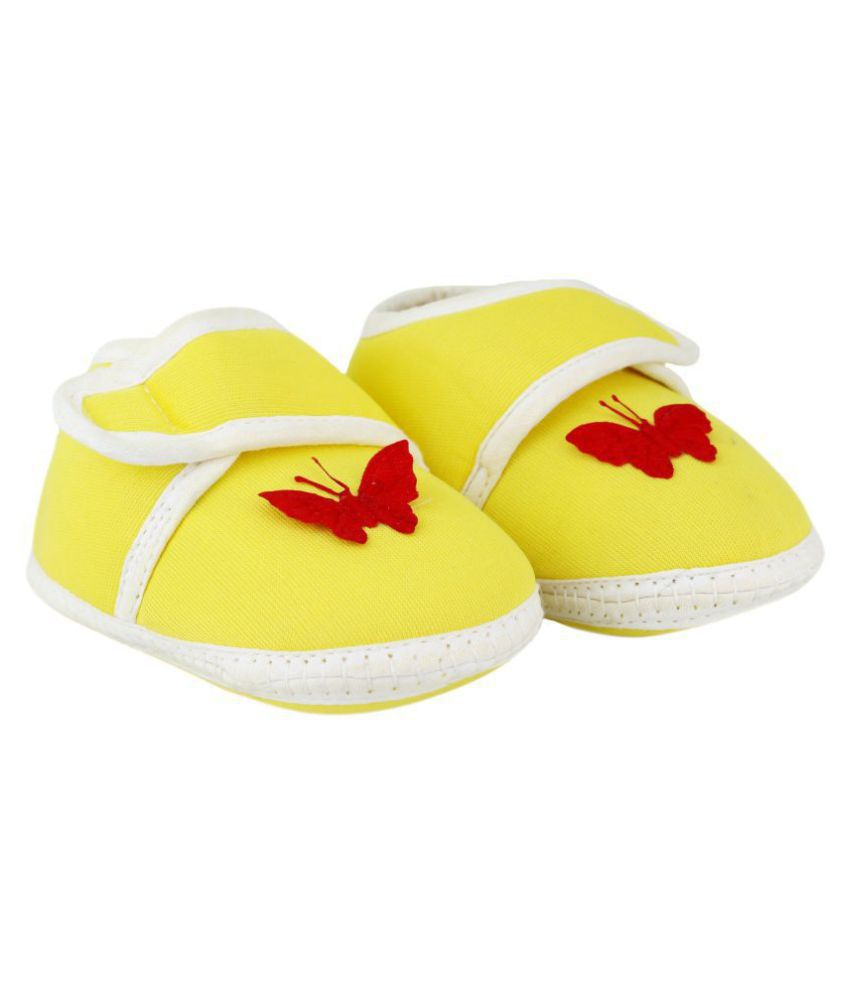 Neska Moda Baby Unisex Butterfly Yellow Booties/Shoes For 0 To 12 Months Infants-BT7