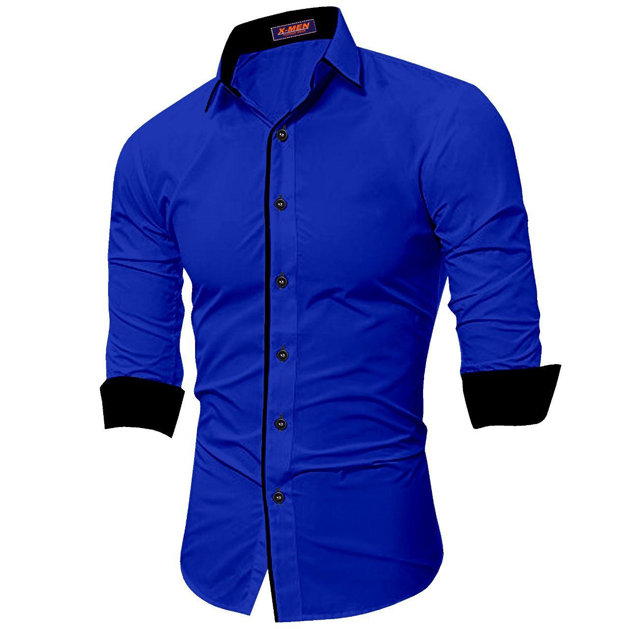 SUR-T 100 Percent Cotton Blue Solids Shirt