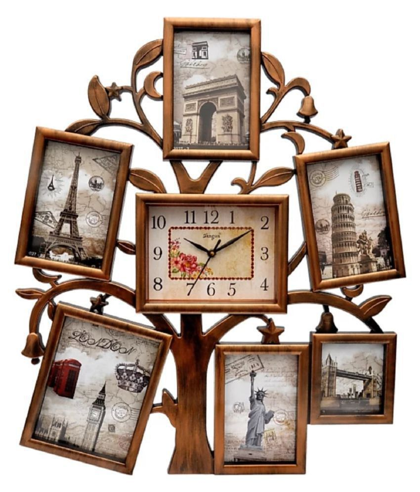Shagun Plastic Wall Hanging Gold Collage Photo Frame - Pack of 1