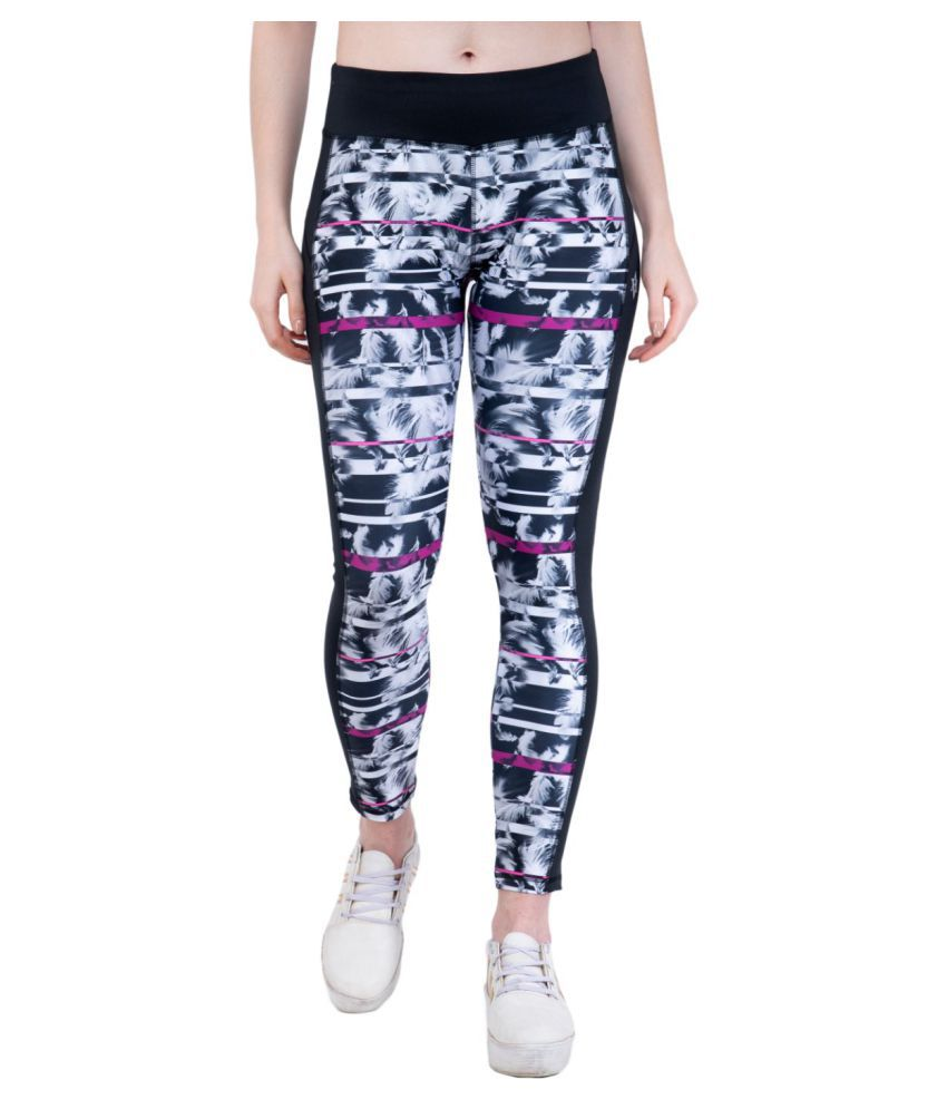 ACTIVE & ALIVE Black Polyester Printed Tights
