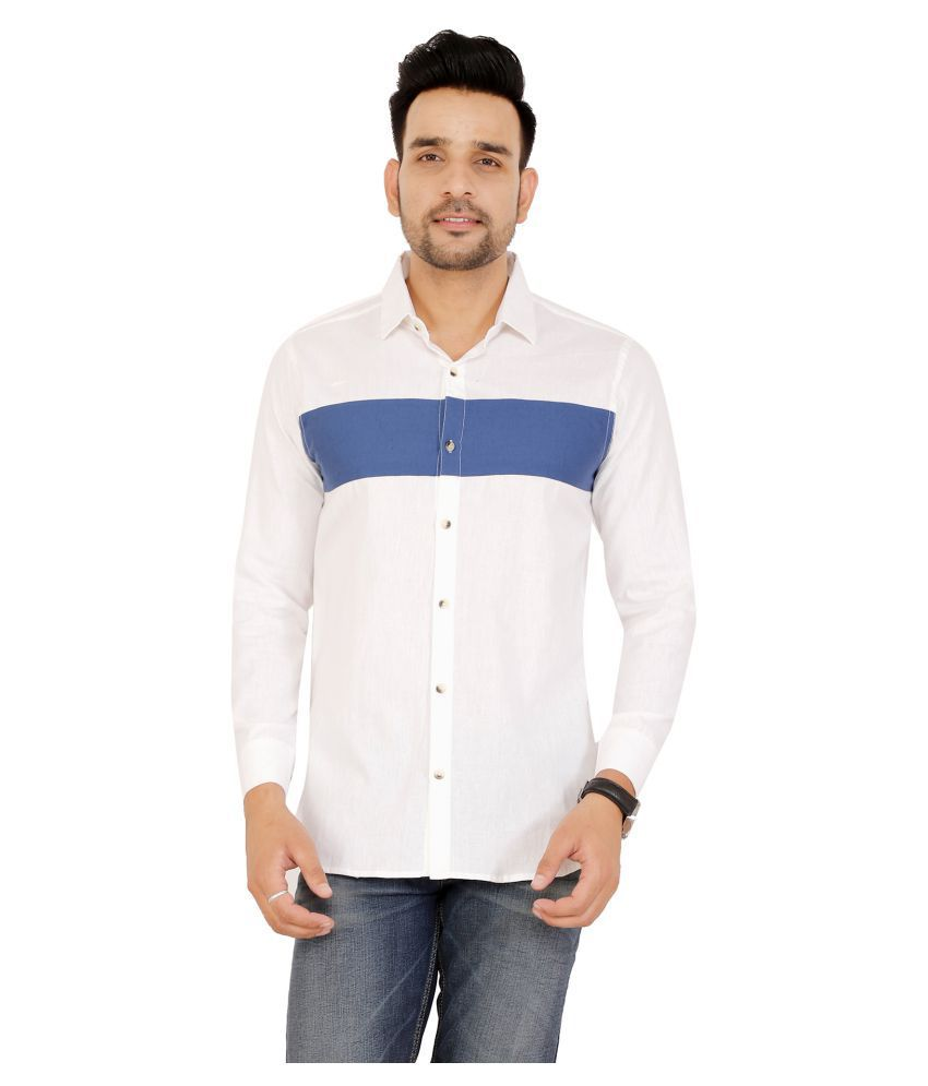 U.V.A. Fashions Cotton Blend White Stripes Shirt
