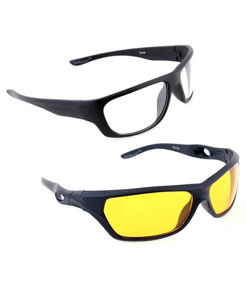 BIKE MOTORCYCLE CAR RIDINGNight Driving  Glasses Set Of 2 In Best Price By Popularkart (AS SEEN ON TV)(DAY & NIGHT)(With Free Microfiber Glasses  Brush Cleaner Cleaning Clip))