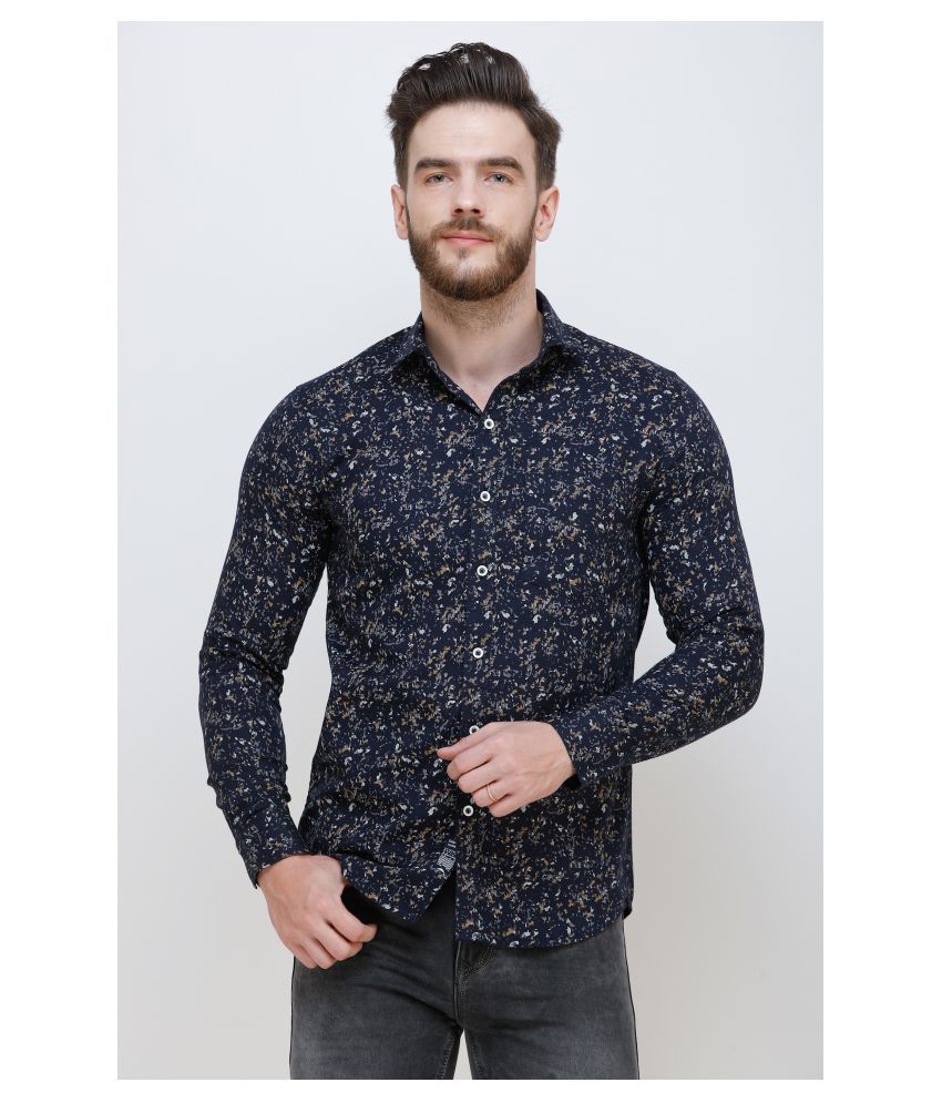 Colvyn Harris Cotton Blend Blue Prints Shirt