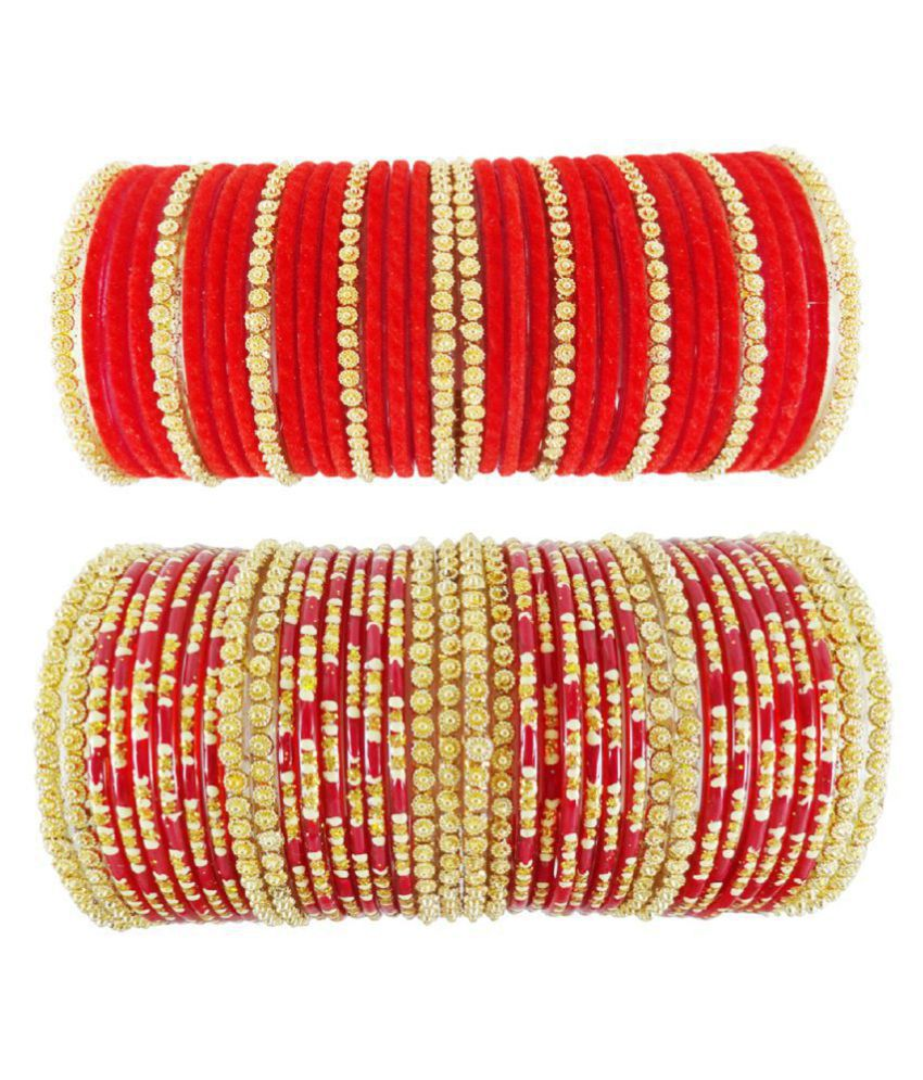 Guddan Red Partywear Glass Bangle Set (70 Bangles)