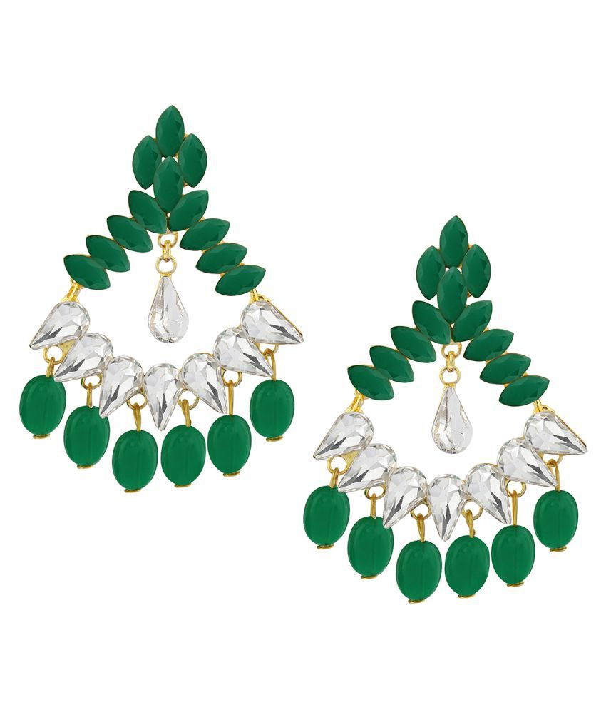 Spargz Designer Party Gold Plated Green Stone Dangle Earring For Women
