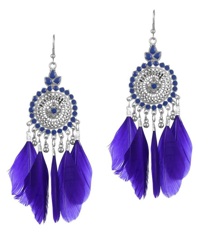Darshini Designs daily wear blue colour earring for women and girl.
