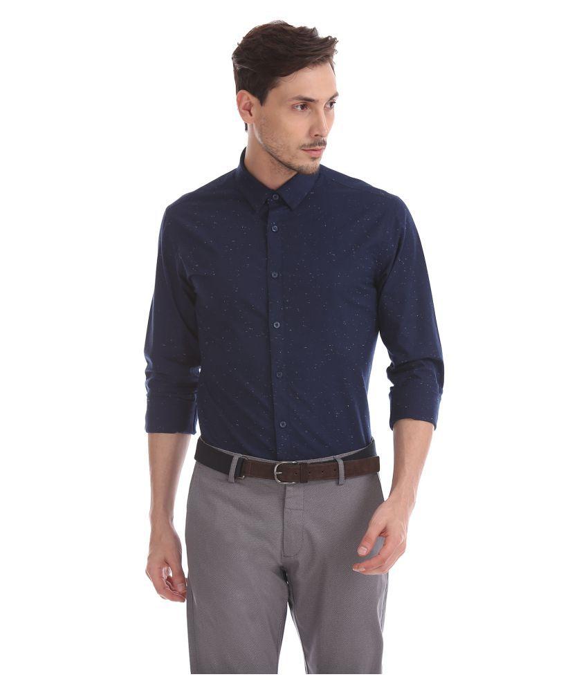 Flying Machine Cotton Blend Blue Solids Shirt