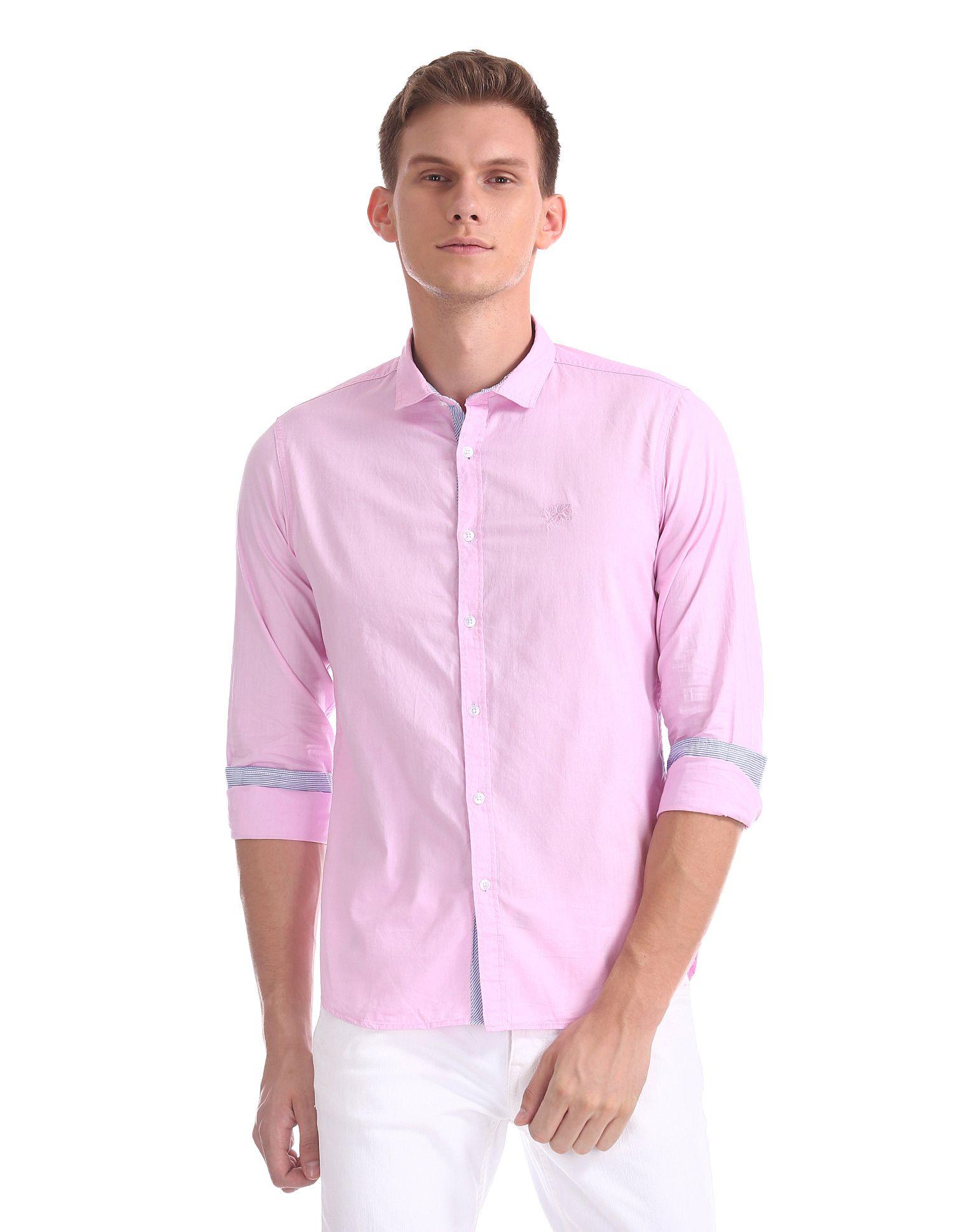 Flying Machine Cotton Blend Pink Solids Shirt