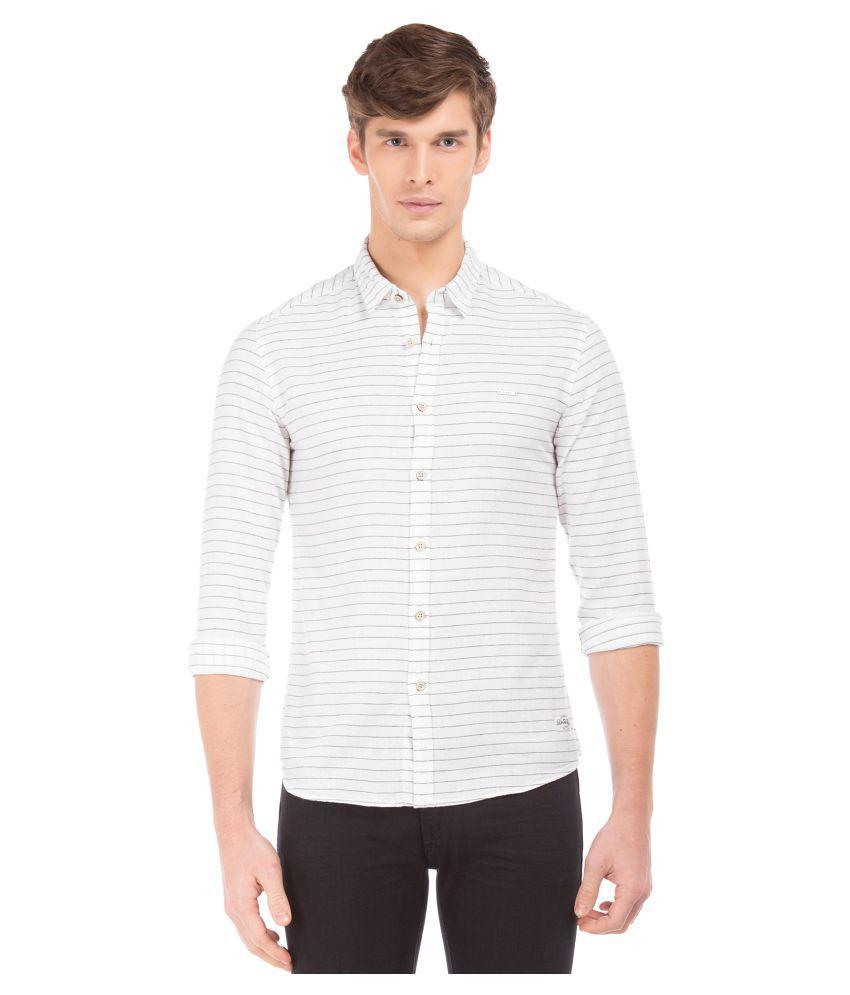 Flying Machine Cotton Blend White Stripes Shirt