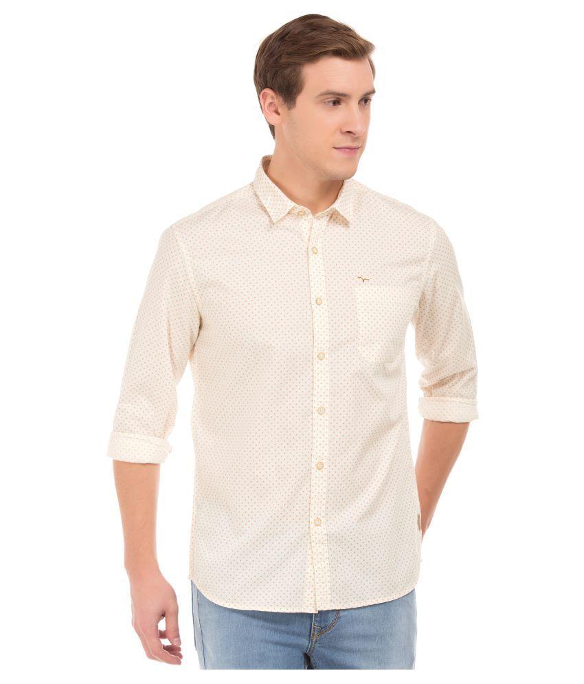 Flying Machine Cotton Blend White Prints Shirt