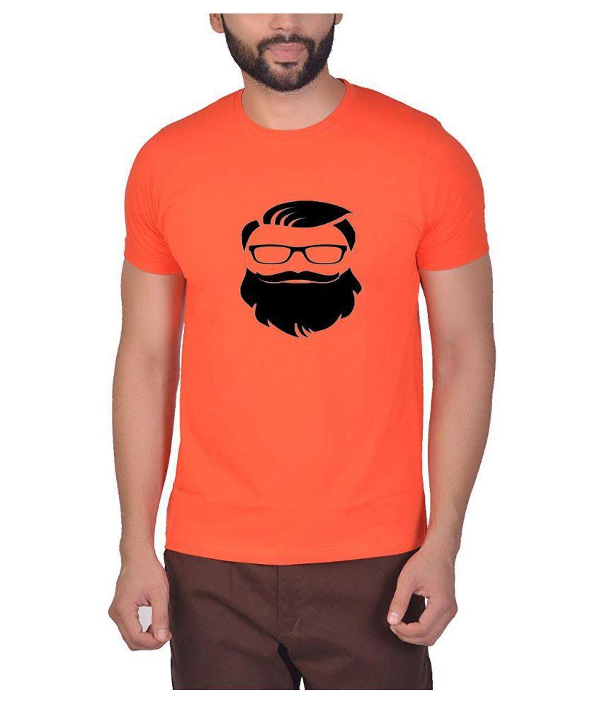 QAMASH Polyester Cotton Orange Printed T-Shirt