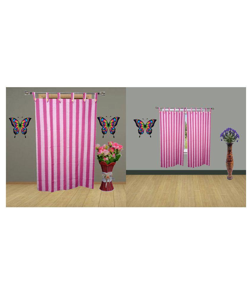 HOMEFLY Set of 3 Door Blackout Room Darkening Loop Cotton Curtains Pink
