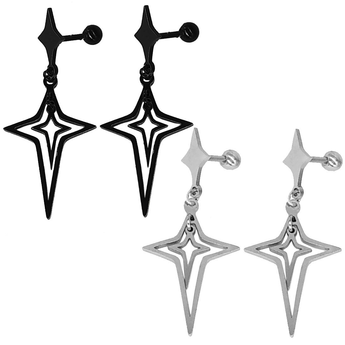 Men Style Religious Christmas Jesus Cross Double Combo Black Silver Stainless Steel Stud Earring