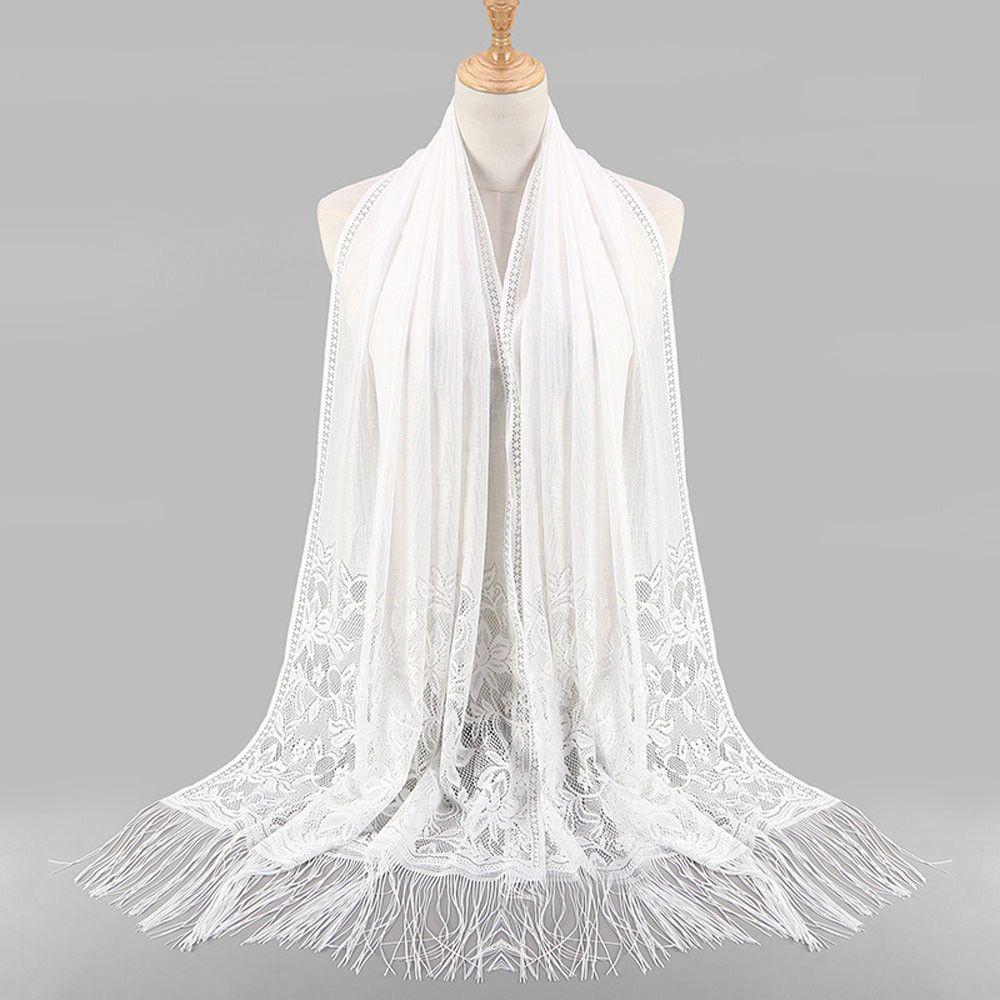 Women Muslim Islamic Tassel Lace Hollow Long Hijab Scarf Shawl Wrap Scarves