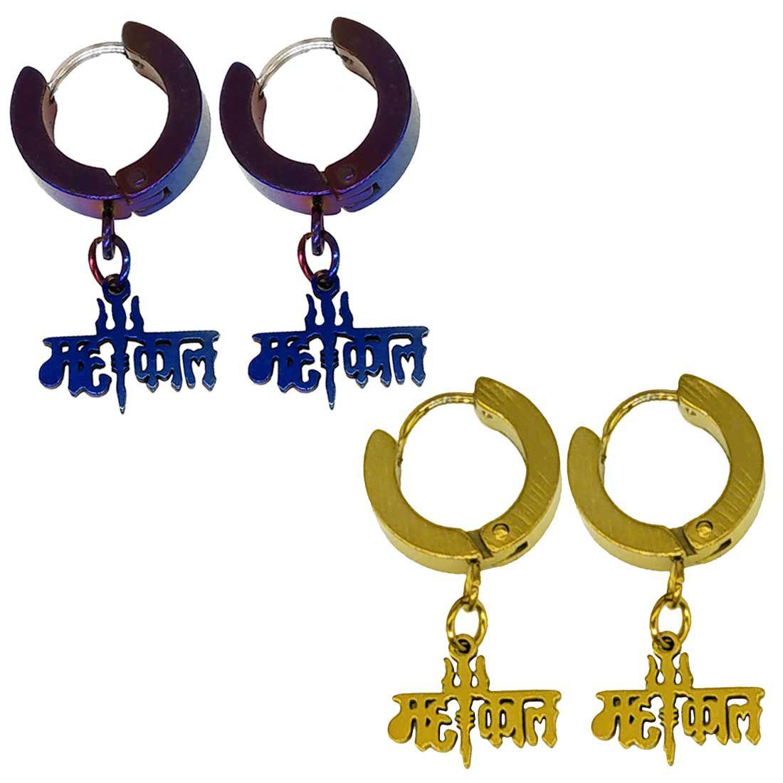 Men Style Trishul Mahakal Charm Drop Huggie Double Combo  Blue Gold  Stainless Steel  Hoop Earring