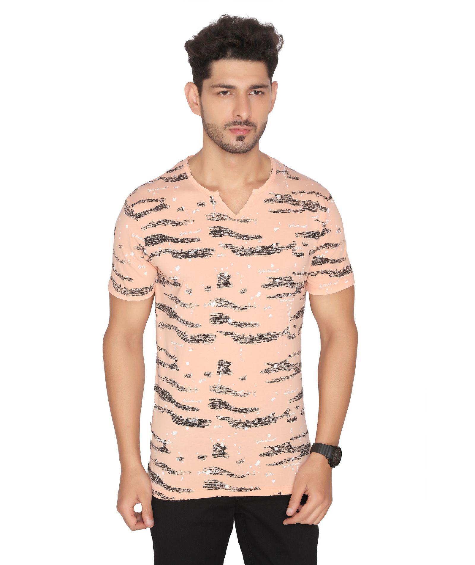 NEXGEN CLUB Cotton Blend Peach Printed T-Shirt