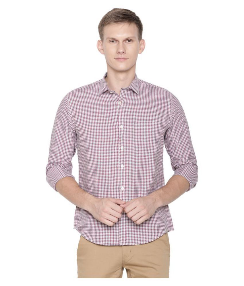 CAVALLO by Linen club Linen Red Checks Shirt