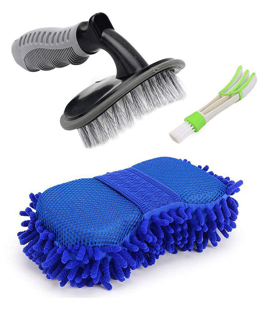 Combo of 1 Car Tyre Cleaning Brush, 1 Car AC Vent Cleaner and 1 Big Size Car Cleaning Sponge