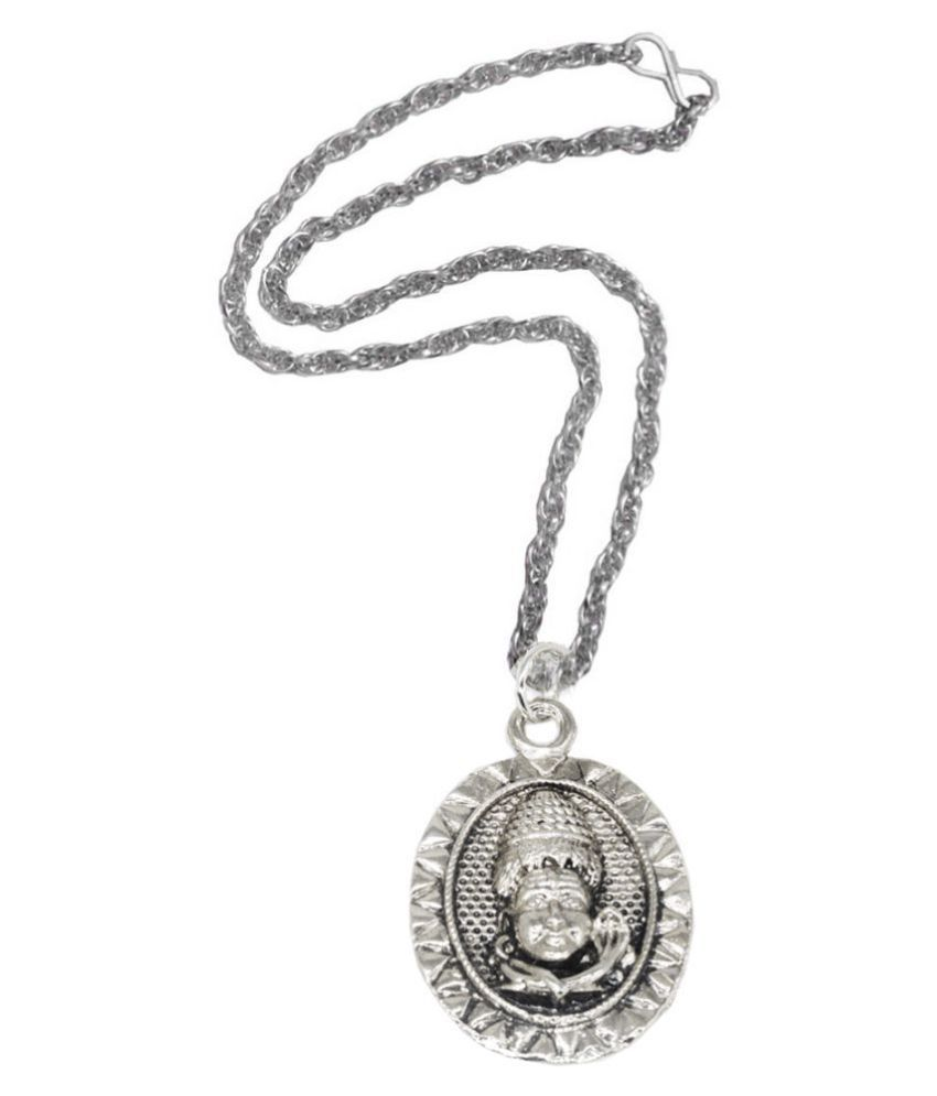 Men style  Lord Bolenath Shiv Locket With Chain Rhodium Alloy, Zinc Pendant