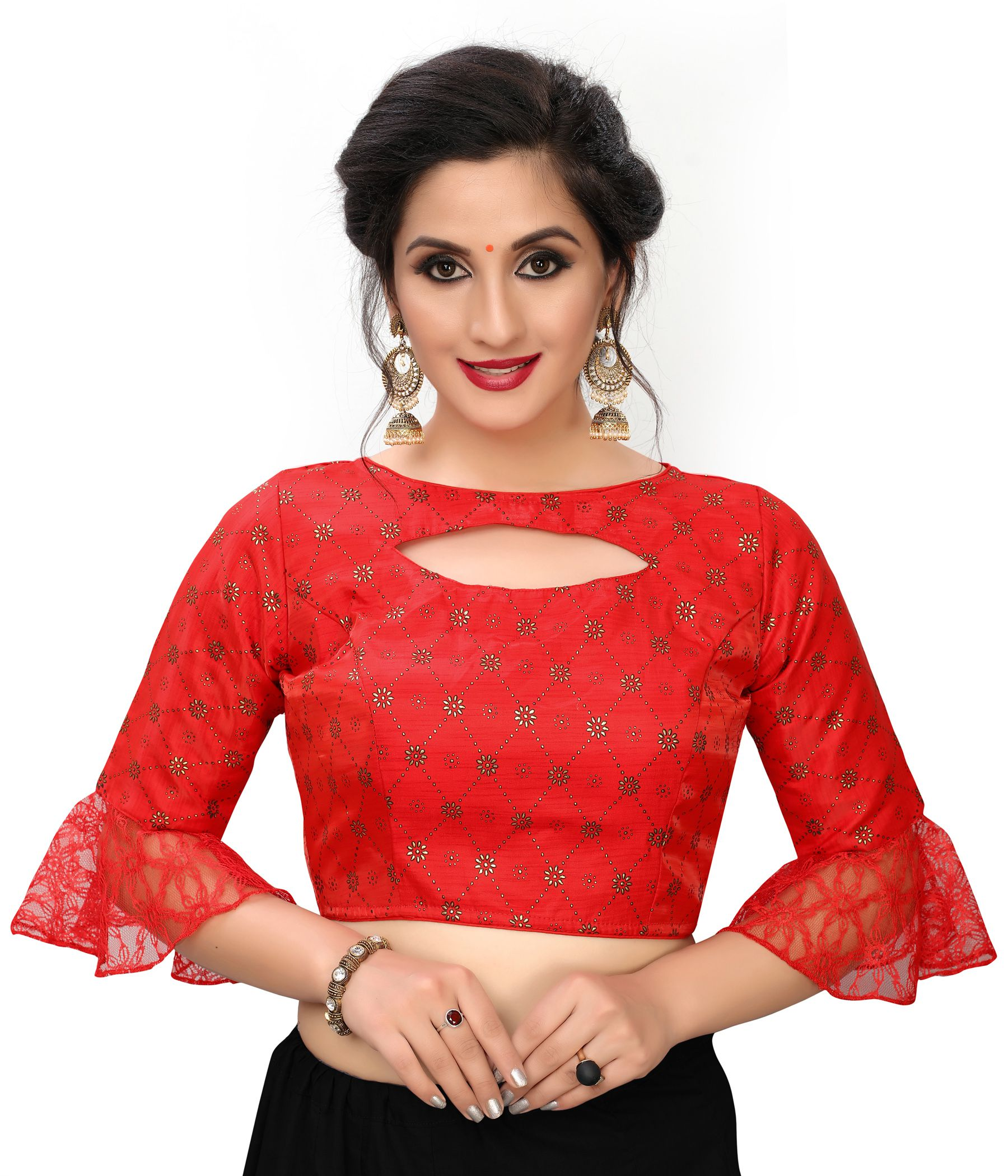 Amrutam Fab Red Silk Readymade with Pad Blouse