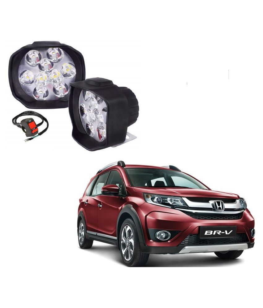 Auto Addict 9 LED 16W Anti-Fog Spot Light Auxiliary Headlight with Switch Set of 2 Pcs For Honda BRV