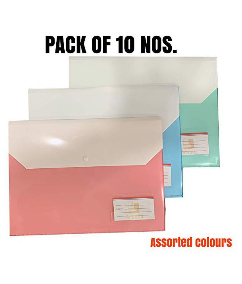 Arbuda Document folder Button Bag folder Front and Back Double Pocket F/S Document File Document Bag Document Folder Envelope Holder Storage Case Snap Button Organizer Plastic Container for Papers - PACK OF 10 Nos.