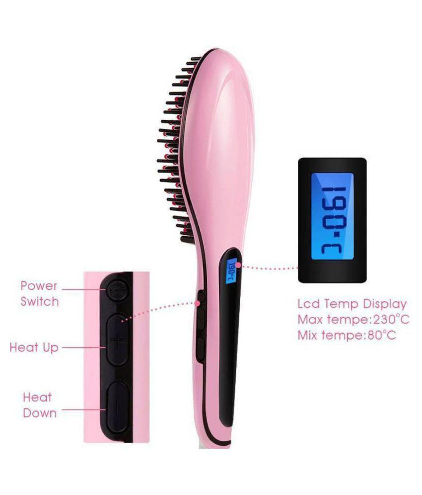 Nirvani HQT-906 Brush Fast Hair Straightener ( Pink )