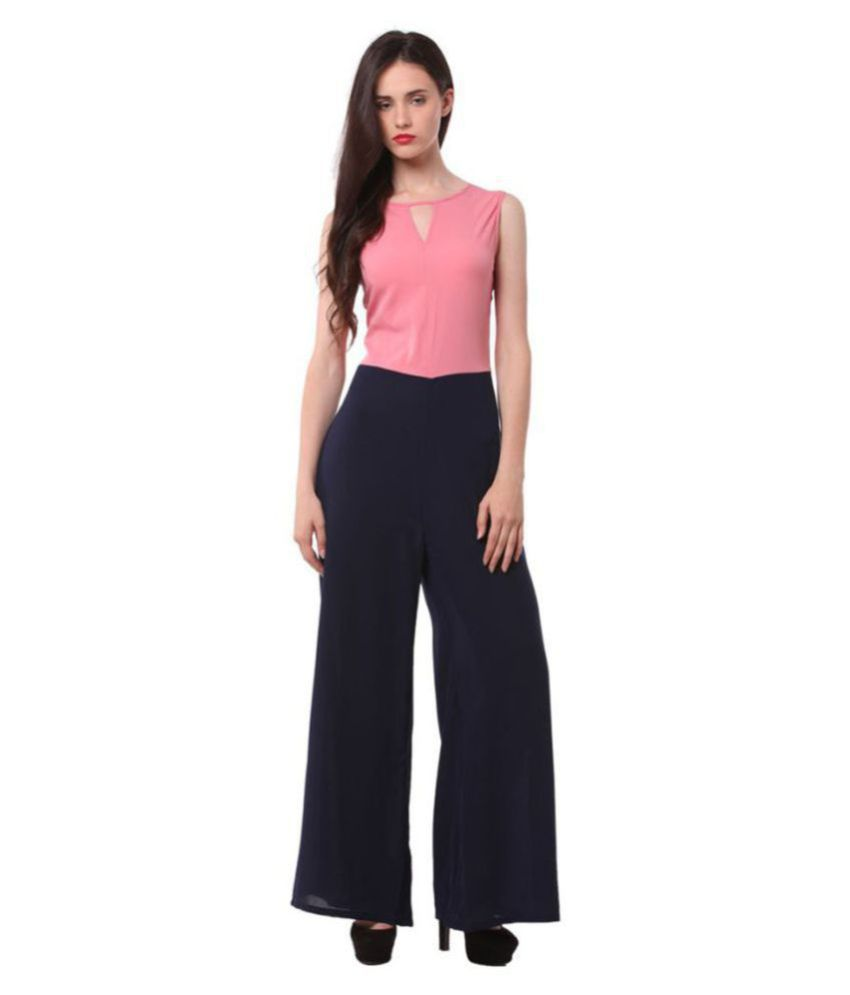 shree wow Peach Crepe Jumpsuit