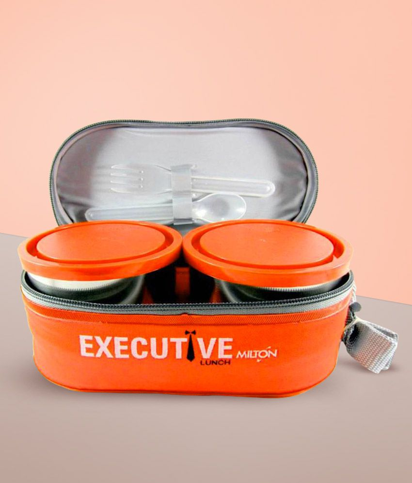 Milton Executive Lunch Box Set, 3 Pieces, 260ml,Orange