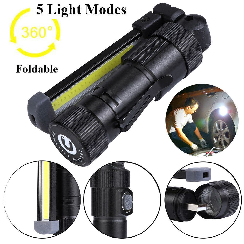 Rechargeable 3 Modes LED COB Magnetic Torch Inspection Lamp Cordless Work Light