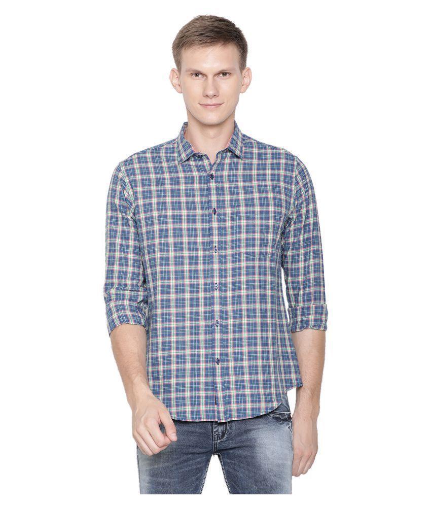 CAVALLO by Linen club Linen Navy Checks Shirt