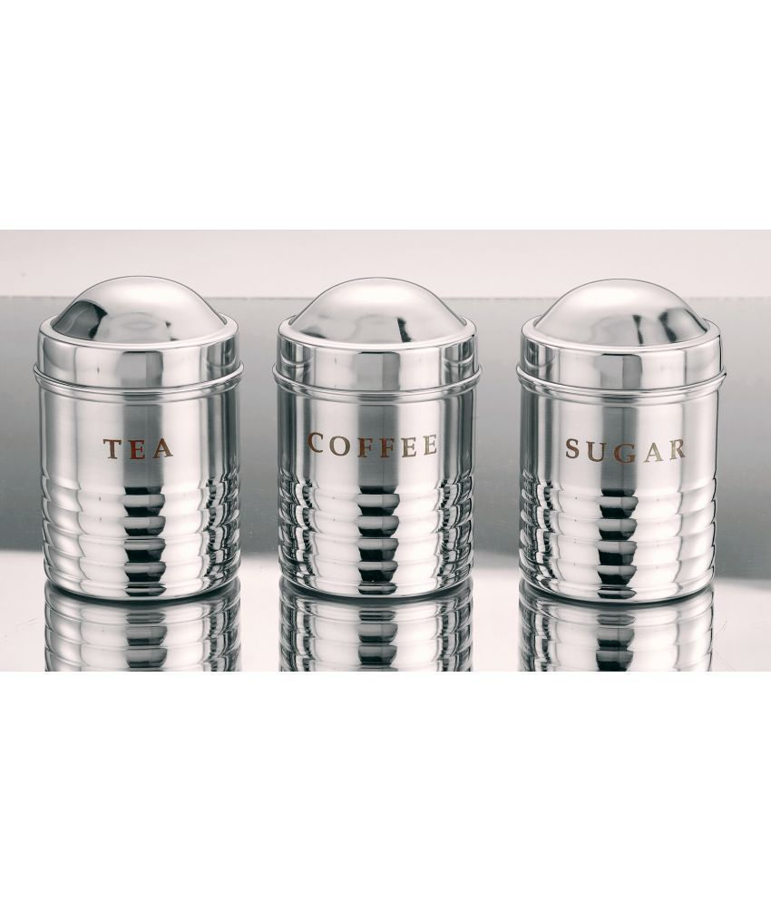 BOXY TwoTone 3pc Canister Steel Tea/Coffee/Sugar Container Set of 3 800 mL