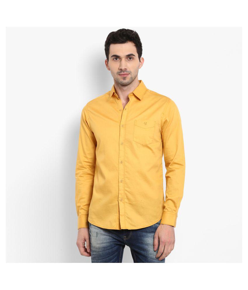 Mufti 100 Percent Cotton Yellow Solids Shirt