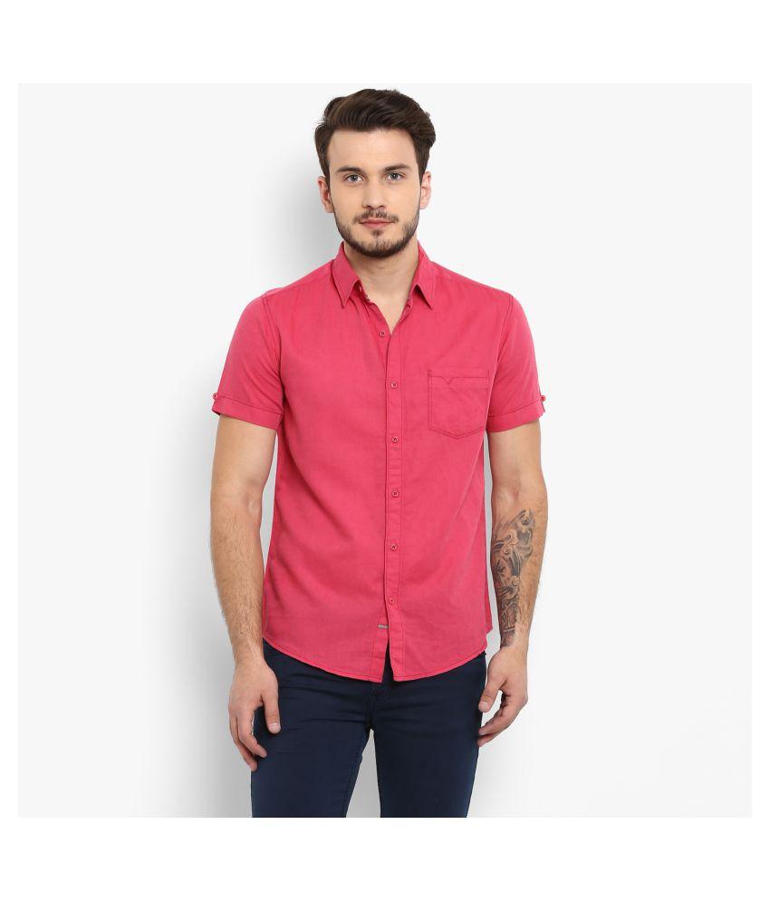 Mufti Cotton Blend Pink Solids Shirt