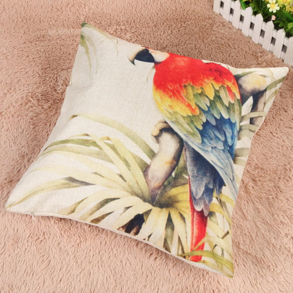 Creative Parrot Pattern Cotton Pillow Cover Pillow Cushion Cover