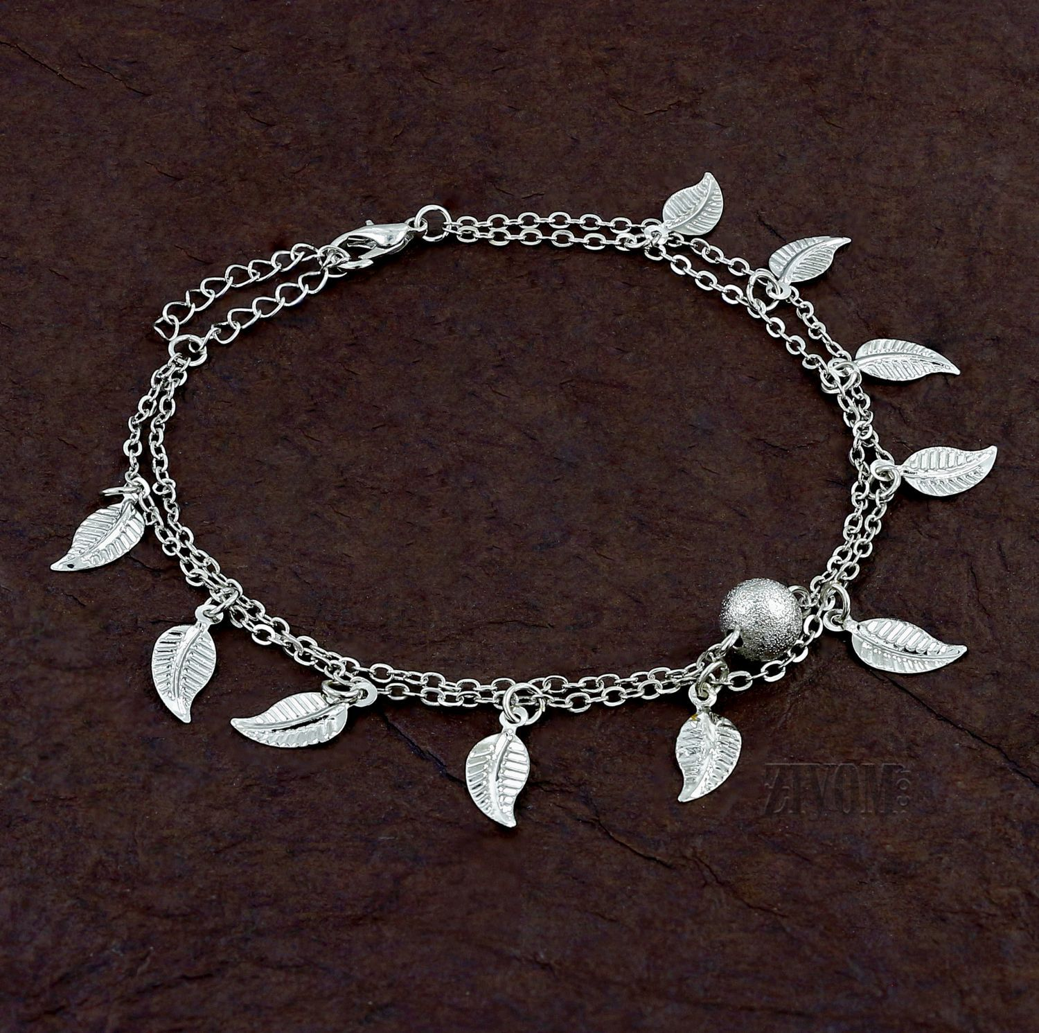 Zivom® Leaf Stylish Indo Western Dainty Delicate Charms Single Leg Anklet Payal for Women Girls