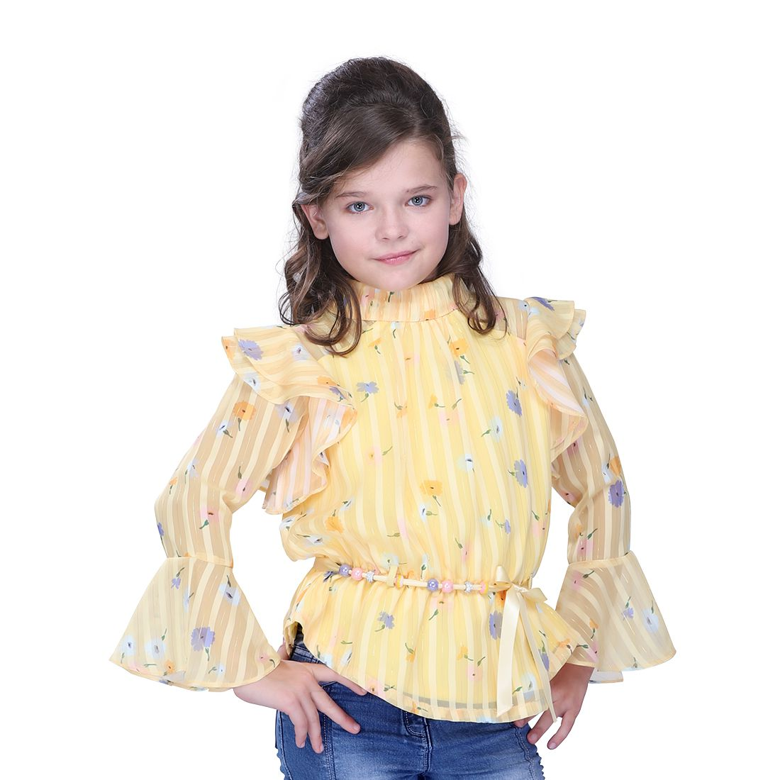 Cutecumber Yellow Georgette Round Neck Bell Sleeves Ruffled Party Wear Tops For Girls