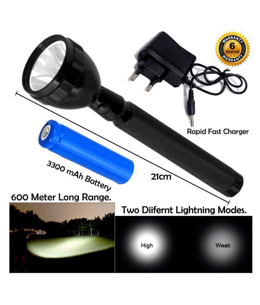 GLOBAL ART 600M Range Long Beam 2 Mode Waterproof Chargeable LED 2W Flashlight Torch Emergency Light - Pack of 1