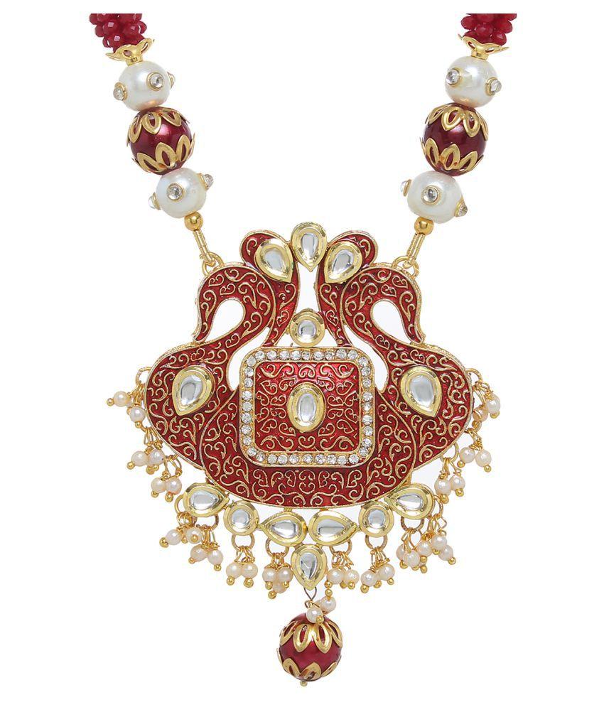 Jewels Gehna Traditional Ethnic Party Wear & Wedding Unique Kundan Pendant Set For Women & Girls