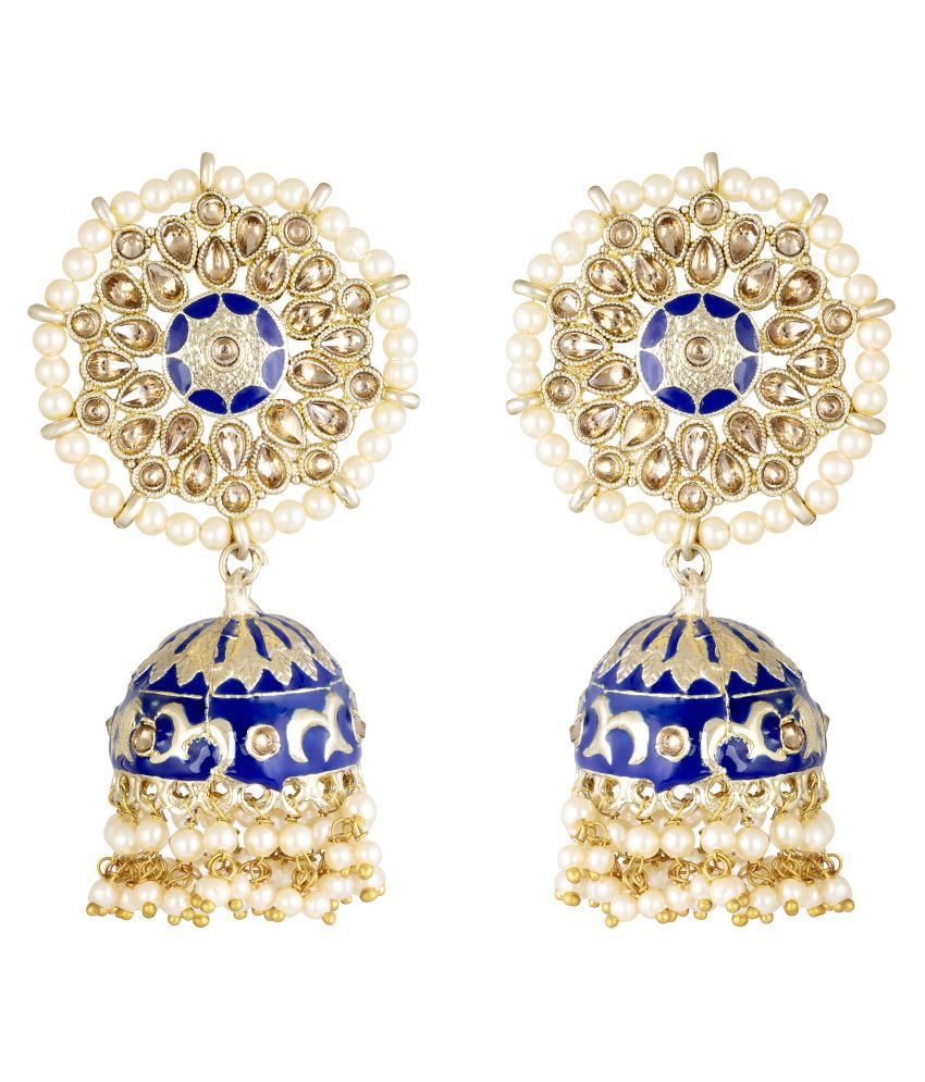 Kord Store Delightful Round Shape Meenakari Work Gold Plated Jhumki Earring For Women