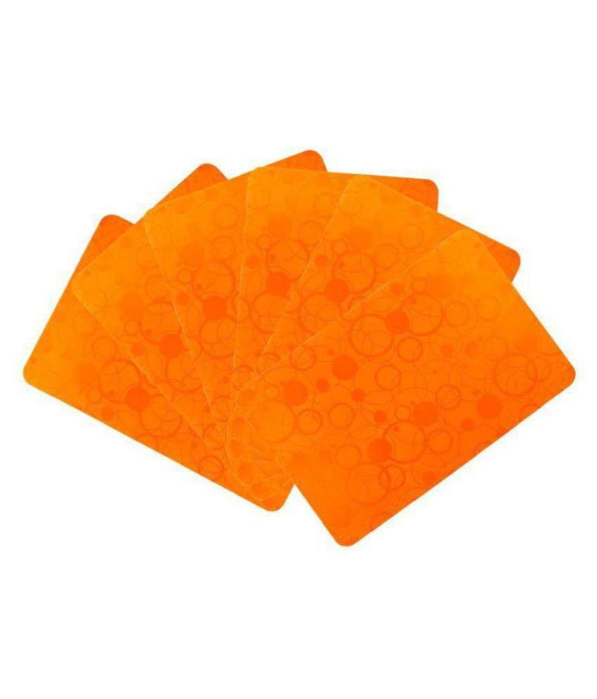 Khushi Creation Set of 6 PVC Orange Fridge Mats