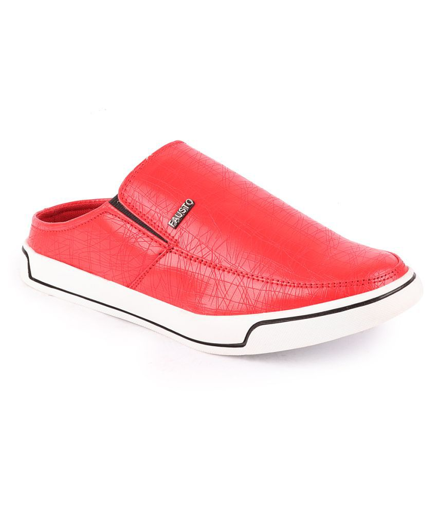 Fausto Artificial Leather Red Formal Shoes