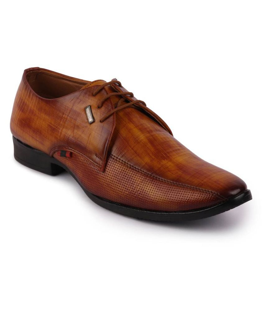 Fausto Artificial Leather Tan Formal Shoes