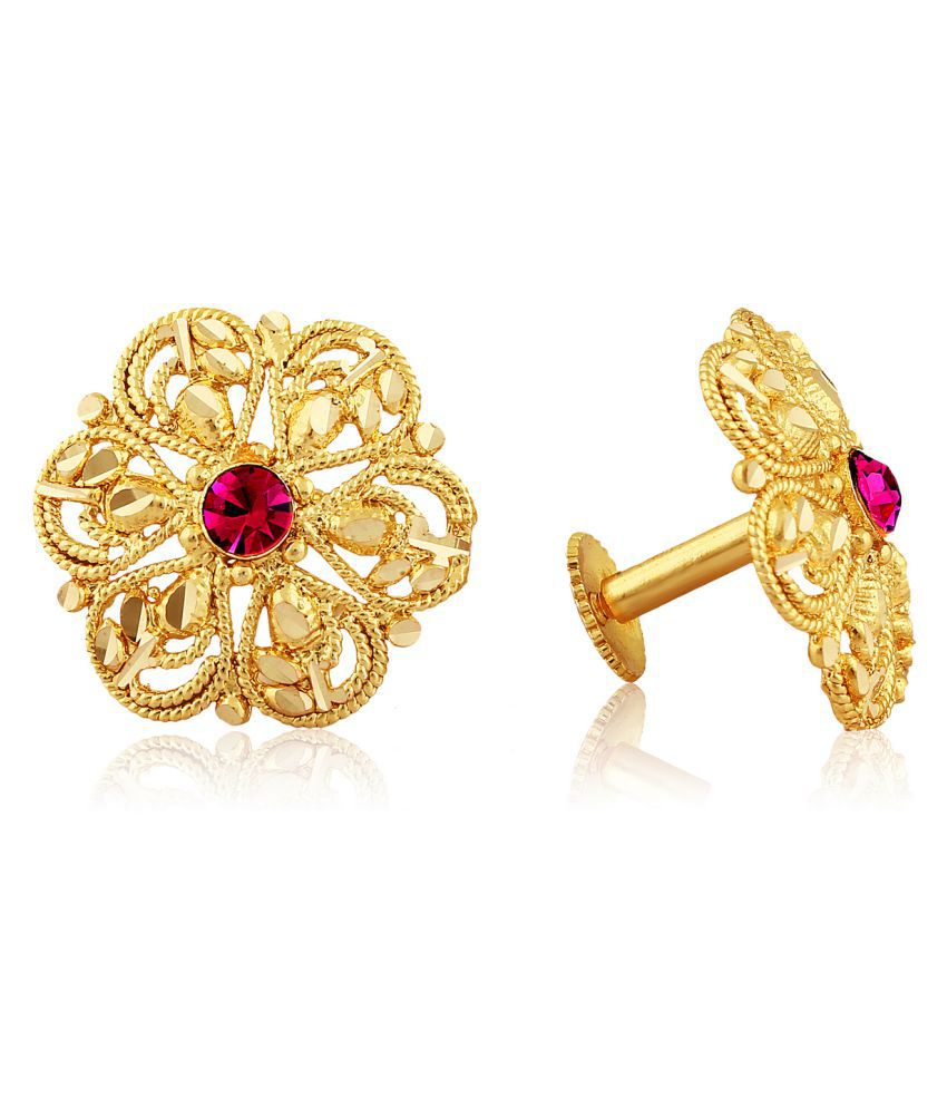 Vighnaharta Traditional South Screw Back Alloy Gold  Plated Stud Earring for Women and Girls