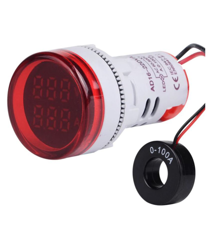 Voltmeter Ammeter AC 50-500V 0-100A Dual LED Indicator Light 22 mm (RED)