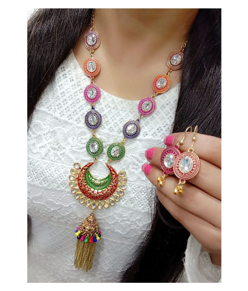 Darshini Designs Multi Color Traditional Necklaces Set Long Haram
