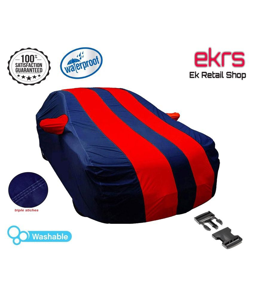 EKRS Dust-proof Car Body Cover/ Waterproof Car Cover for Hyundai i10 Era U2 1.2 CRDi (Diesel) with Mirror Pockets, Triple Stitching & Light Weight (Navy Blue & RED Color)