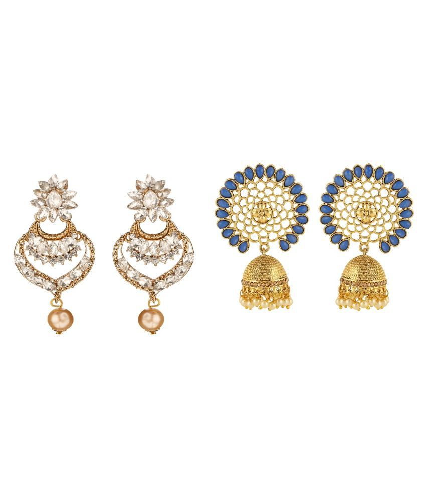 Kord Store Round Shape Design Double Slided LCT Blue White AD Stone Dangle & Jhumki Combo Of 2 Earring For Women