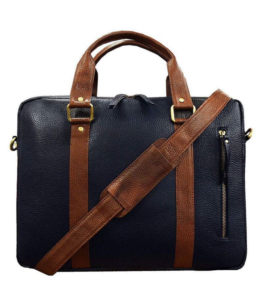 Style 98 Fashion/Casual Blue Leather Office Messenger Bag