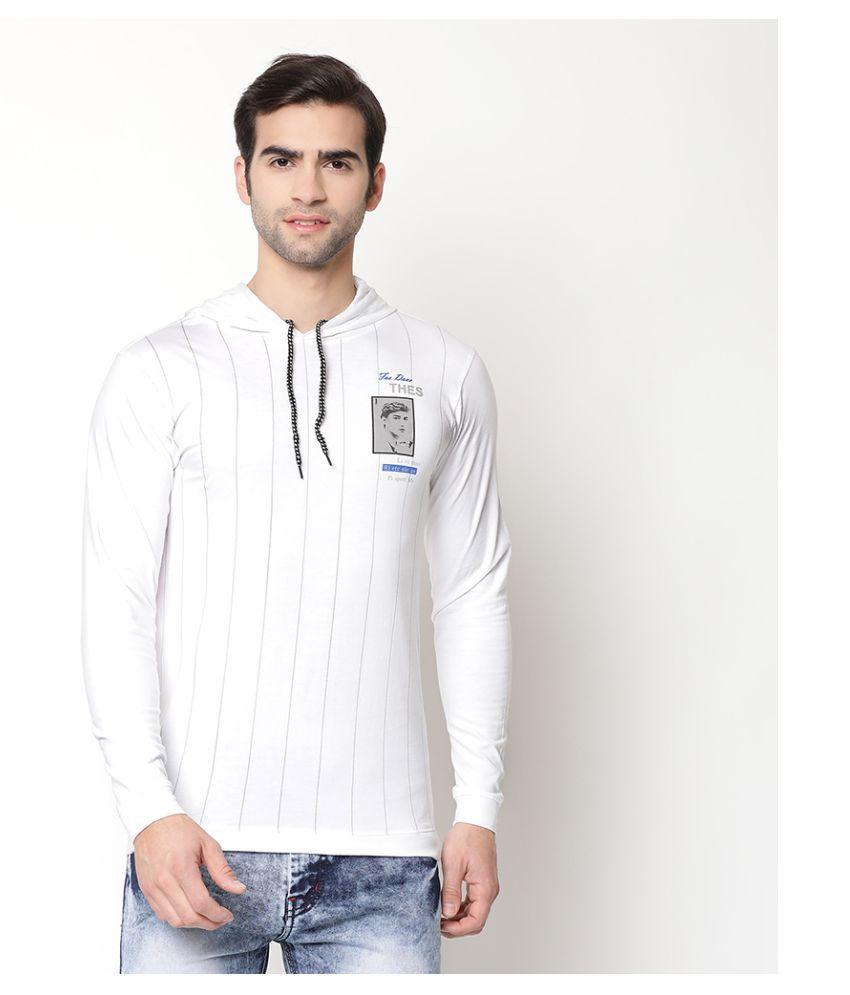 V2 Cotton Viscose White Printed T-Shirt